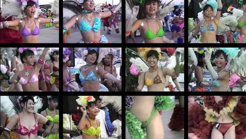 ロリータ娘が水着で野外露出!サンバの踊りで大開脚!